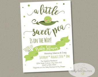 Sweet Pea Baby Shower Invitation | Pea in a Pod, Pea Pod Invitation | Boy or Girl | INSTANT DOWNLOAD