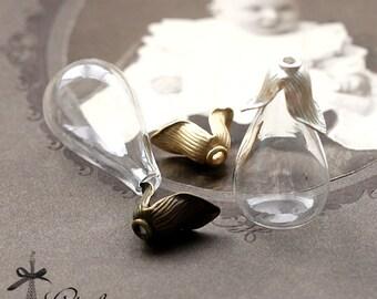 5PCS Clear Teardrop Glass Bulb Glass Teardrop Bottle FLAT Base with matt gold matt silver Antique Bronzed Flower Cover