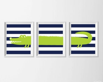 Nursery Alligator Art, Safari Alligator Nursery Wall Art,  Lime Green Navy Alligator Set of 3, Safari Kids Decor Alligator, Zoo Nursery Art