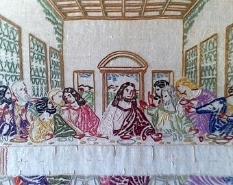 "Vintage Hand Embroidered ""The Last Supper"""