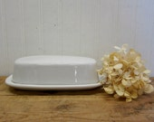 Vintage McCoy Creamy White Pottery Butter Dish Farmhouse Kitchen