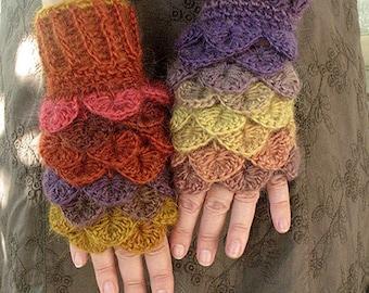 Fingerless Dragon gloves, Dragon scale gloves, Dragon gloves with crochet scales, Dragon gloves crochet, gloves, Arm warmers, Gift for her