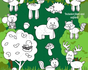 Forest Animals Digital Stamps, Forest Animal Clip Art, Forest Animals Clipart, Woodland Animal Clip Art - Commercial and Personal Use