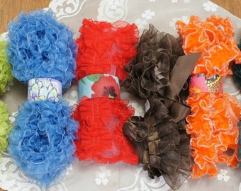 Organza Ruffle Lot in Six Colors Over 11 Yards, costume trim, craft trim, hair ornaments