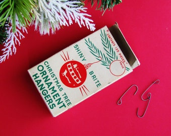 Shiny Brite Christmas Tree Ornament Hangers 1950s Original Box With Metal Wire Hooks Made In Japan Retro Holiday Decor