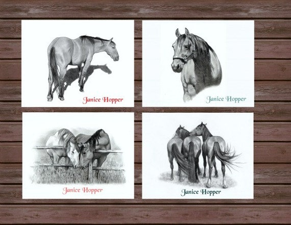 Horse Note Cards, Beautiful Hand-drawn Images, Personalized, Set of 12