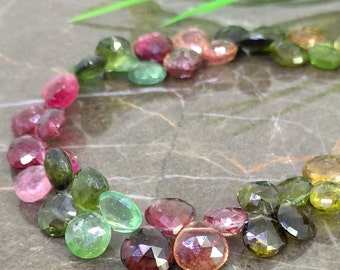 Natural Multi Tourmaline 8-9mm Faceted Heart Briolette Beads / Approx 50 pieces on 8 Inch long strand / JBC-ET-BMTR012