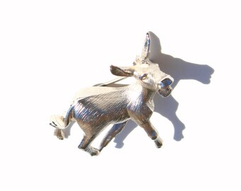 Napier Donkey- 1970s Brooch- Silver- Detailed Brooch- Mule Pin- Donkey Jewelry- Political Jewelry- Realistic Design- Vintage Napier