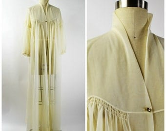 1950s Chiffon Robe with Puff Sleeves Size Small Vanity Fair Sheer Nylon Robe with Single Rhinestone Button Closure Hollywood Glam
