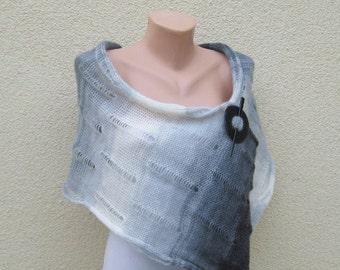 Infinity Knit Cowl Loop Scarf, Mohair Ombre Grey Neckwarmer, Women Lace Capelet, White Black Lightweight Shawl, Winter Accessory, Gift idea