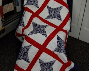 SALE, Patriotic Stars Quilt, Red White Blue, Hand Quilted