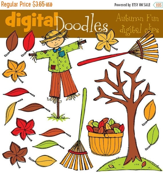 ON SALE INSTANT Download Autumn fun Digital Clip art clipart