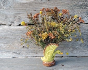 Dried Flower Bouquet Floral Arrangement In 50's Duck Planter Woodland Fall Colors Retro Home Decor Vase Free Lavender Sachet with Order