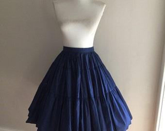 VINTAGE 1950s 1960s Navy Blue Tiered Ruffle Full Circle Swing Skirt