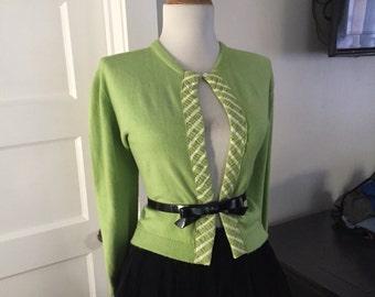Vintage 50s 60s  Light PEA Green Pinup Girl Mad Men Cardigan Bombshell Kitten Sweater