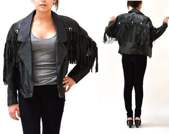 80s Vintage Black Leather Jacket with Fringe// Vintage Black Leather Motorcycle Western Jacket with Fringe size Medium
