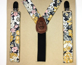 Kid's Flower Power Suspenders // Gray Yellow Pink White// Wedding // Durian and the Lyon