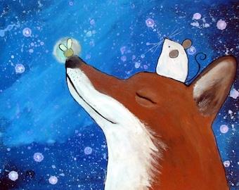 Fox Nursery Art Print, Starry Night Sky Artwork for Children, Baby Room Decor, Kids Wall Art, 8x10 Art Print, Storybook Style, Fireflies