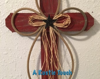 Rustic Wood Cross Distressed Red