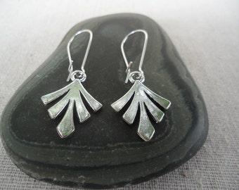 Boho Chic Earrings - Silver Fan Earrings - Simple Everyday Earrings - Mod - Moroccan - Bohemian