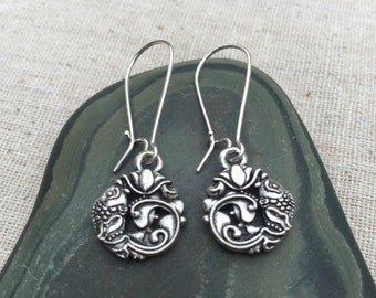 Silver lotus koi fish earrings - Silver Earrings - Lotus Jewelry - Fish Jewelry - simple everyday