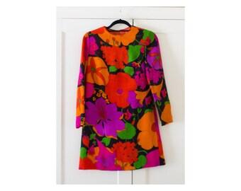 Vintage 1960's Mod Neon Floral Mini Long Sleeve Babydoll Dress / Hippie / Festival / Wool / Size Small / 1970's