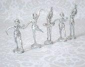 Vintage Silver Ballerina Cup Cake Toppers  /  5 Silver Ballet Dancers  /  Depose' Italy Silver Dancer Cake Top Decorations  SwirlingOrange11