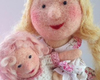 Needle Felted Girl Puppet & Doll