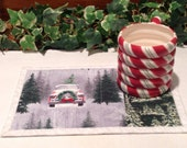 Christmas Quilted Mug Rug - Picking Out the Christmas Tree Snack Mat Quiltsy Handmade