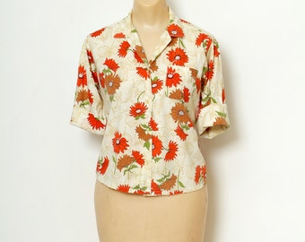 Vintage Shirt 50's  / 1950s / Pin up / shirts / Flower / Vintage Blouse  /Floral / womens shirt / 1950s blouse / 1950s Top 60s /