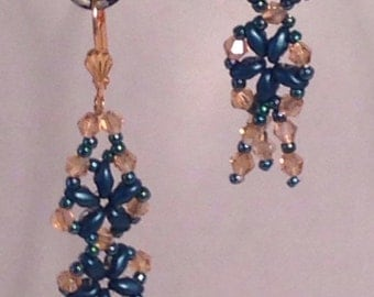 Teal and topaz earring