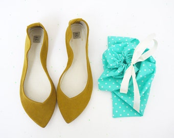 Ballet Flats Shoes Pointy Sunflower Yellow Leather Slip on Ballerinas