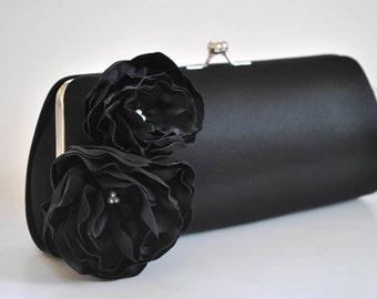 BLACK clutch - Bridal Clutch - Bridesmaid Clutch - Wedding clutch - Large clutch- You choose the color