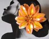 Orange Poinsettia with sequins hair clip - Weddings - Christmas flower -
