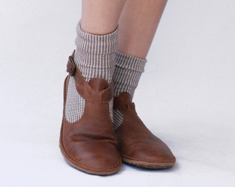 Handmade Cut-out flat leather shoes- Brown - CUSTOM FIT