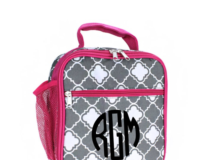 Gray and Pink Quatrefoil Monogrammed Lunch Bag, Kids Lunchbox, Insulated Cooler Tote, Personalized Name, Back to School, School Supplies