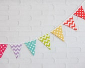 Bright Rainbow Polka Dot & Chevron Fabric Pennant Bunting Banner  - great for party decor, nursery, playroom, photo prop