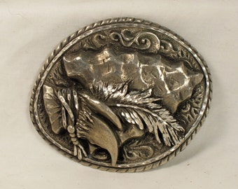 pewter belt buckle EGE Western frontier style arrowhead  made in the USA