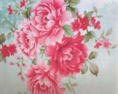 """Gorgeous Shabby Chic romantic roses white/pink multi edible image wafer sheet 8"""" x 8"""" for your iced cookies, cakes, cupcakes and more."""