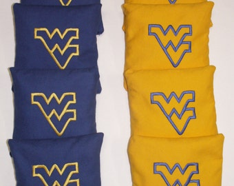 West Virginia Mountaineers WV Outline Embroidered Cornhole Corn Hole Baggo Bean Bags Toss