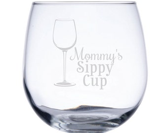 Stemless Red Wine Glass-17 oz.-7752 Mommy's Sippy Cup