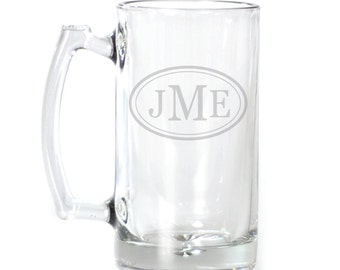 Personalized Large Beer Mug - 25 oz. - 8547 Monogram Personalized in Ovals