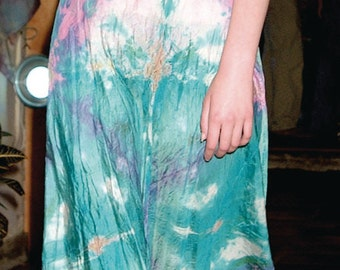 turquoise cream pink silk halter wedding dress