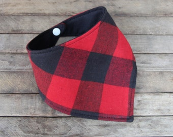 Baby Bibdana Baby Bib Drooling Bib Red and Black Buffalo Plaid Lumberjack Flannel teething bib baby bib