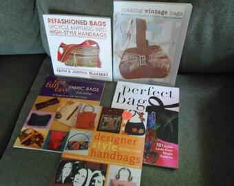 Purse Handbag making book lot up cycle fabric vintage