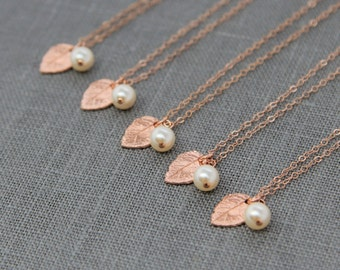 Rose Gold Leaf and Pearl Necklaces, Set of 9, Rustic Bridal Jewelry, Nature Inspired Bridesmaid Necklaces