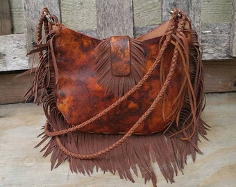 Leather Hand Bag with Hand Cut Fringe and Braided Handle