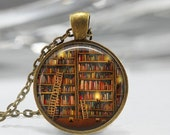 ON SALE Library Book Necklace Librarian Jewelry for Bibliophiles Bookworms Art Pendant in Bronze or Silver with Link Chain Included