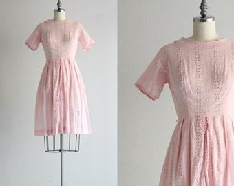 Pink Eyelet Dress . Vintage Pink Dress . 50s Cotton Dress . 1950s Dress