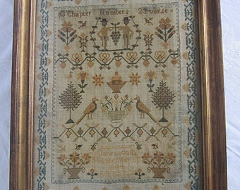 Antique Sampler Needlework 1844 Cross Stitched Birds Flowers in Antique Frame